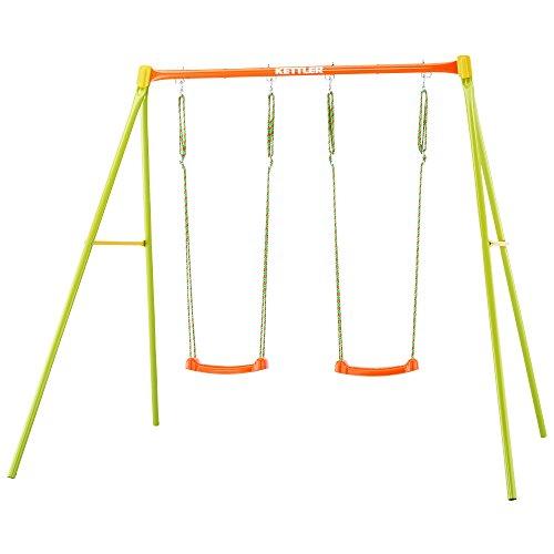 Kettler Schaukel 2 - Gartenschaukel Kinder - Farbe: Orange und grün - Schaukel Kinder mit zwei Schaukelsitzen - Qualität MADE IN GERMANY - Artikelnummer: 0S01042-0000