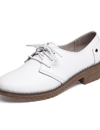 ZQ hug Scarpe Donna - Stringate - Tempo libero / Formale / Casual - Comoda - Piatto - Pelle - Nero / Bianco , white-us8 / eu39 / uk6 / cn39 , white-us8 / eu39 / uk6 / cn39 white-us6.5-7 / eu37 / uk4.5-5 / cn37