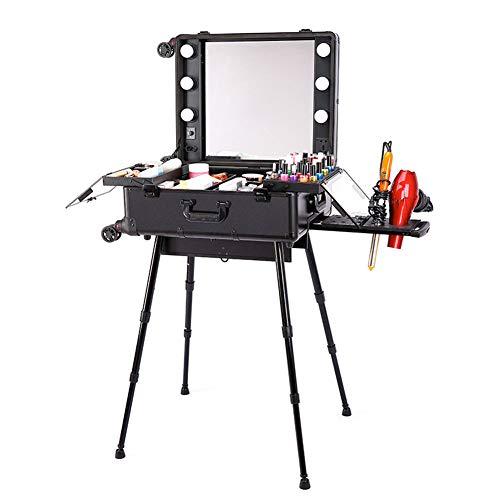 KINYNE trolley makeup case Cosmetic Storage Train da tavolo con 4ruote, specchio con luci regolabile gambe Portable organizer box, A