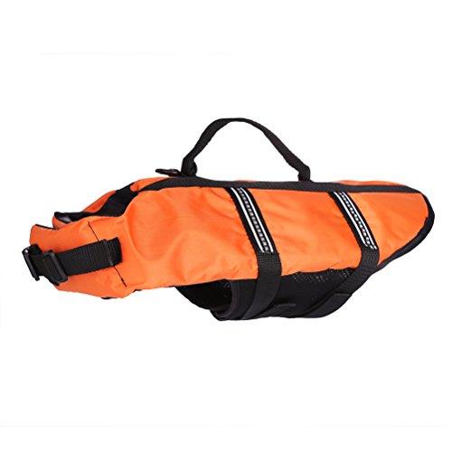 Yupro easy-fit verstellbare PET Hund oder Schwimmkleidung Katze Schwimmweste Sicherheit mit Gurt Befestigung PET Schwimmhilfe-Orange,XXS
