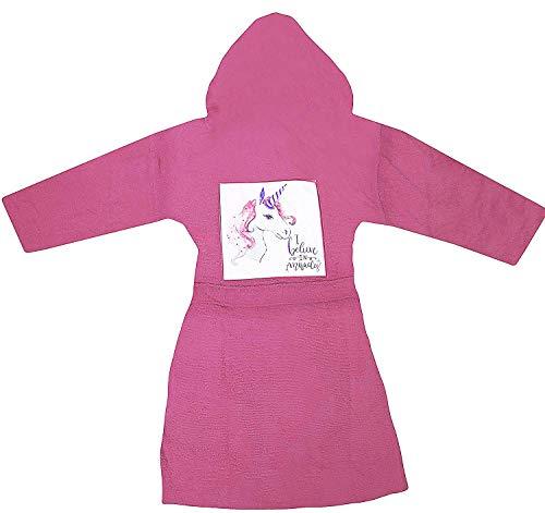Accappatoio con cappuccio bassetti imagine bimbo bimba bambino bambina taglia 4/6 / 8/10 anni spugna di puro cotone (unicorno rosa, 4/6 anni)