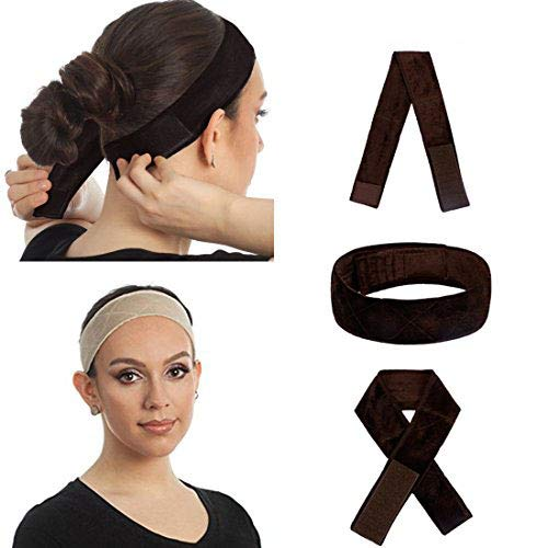Queentas beauty flexible velvet wig grip parrucca fascia sciarpa head hair band adjustable fastern impugnatura ergonomica parrucca band (nero) (marrone) (beige)