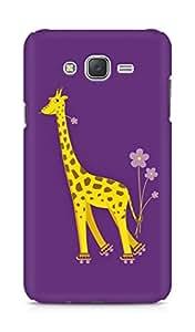 Amez designer printed 3d premium high quality back case cover for Samsung Galaxy J7 (Purple giraffe)