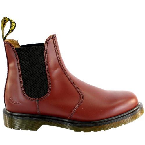 Damen Dr Martens Airwair Leder Chelsea Stil Low Heel Fußwurzel Stiefel Rot