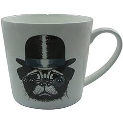 Jameson & Tailor Taza 0,45 l perro de porcelana brillante con sombrero y. monóculo