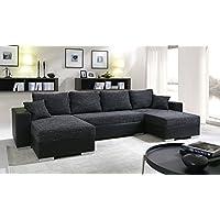 Canapé d'angle convertible panoramique 5 à 6 places ENNO tissu et simili cuir noir
