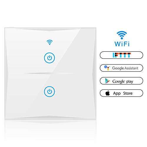 Alexa Smart Lichtschalter, SAINKO 2-Weg WLAN In-Wall gehärtetes Glas Touchscreen-Schalter, arbeitet mit Amazon Alexa und Google Home, Timing-Funktion, Überlastungsschutz (2-weg) -
