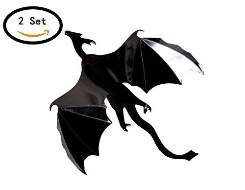 Moolecole 2 Set Halloween Dekoration PVC Mauer Aufkleber 3D Fliege Drachen Dekorativ Mauer (Dekorationen Scary Halloween Ideen)