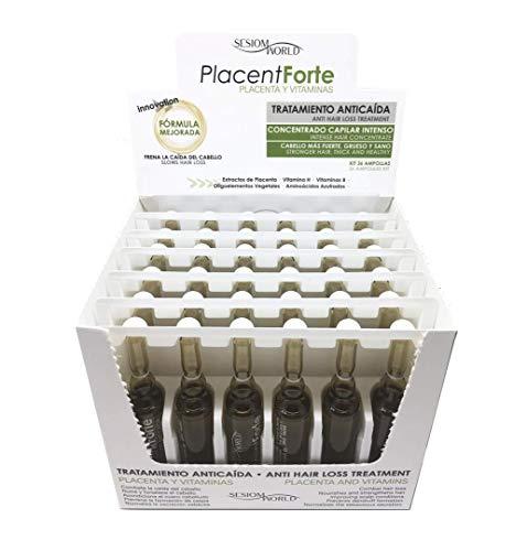 SesioMWorld Trattamento contro la caduta dei capelli, linea: PlacenForte, con placenta e vitamine, 36 fiale.