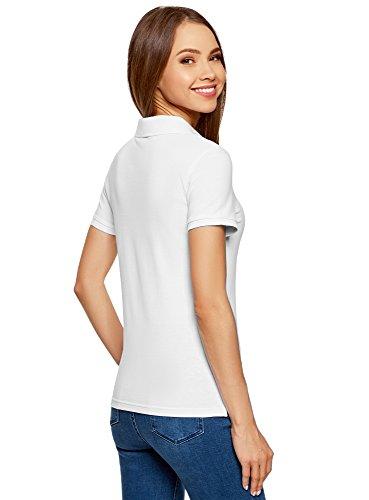 oodji Ultra Damen Pique-Poloshirt Basic Weiß (1000N)