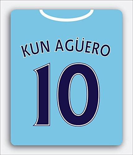 Manchester City - Alfombrilla de ratón con diseño de Camiseta Kun Agüero con número 10, Temporada de 2015/2016, Cualquier Fan del Manchester City, Rectangular, Funcional
