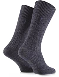 Mens 2 Pair Jeep Urban Trail Wool Ribbed Boot Socks In 3 Colours