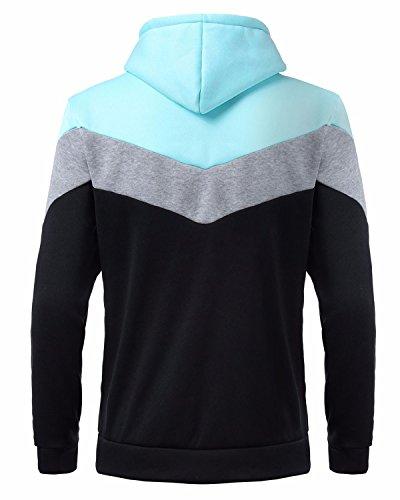 MODCHOK Herren Hoodie Pulli Pullover Hoody Kapuzenpullover Sweatshirt Kaputze Sweatjacke Hemd Hellblau-Grau-Schwarz