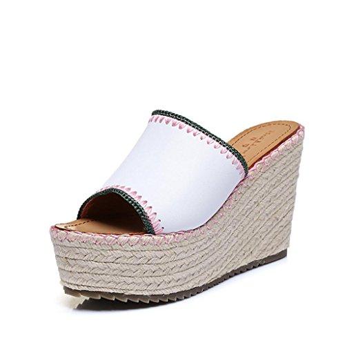 BaiLing Damen Sommer Pantoffeln / Wedge Ferse handgefertigte gestrickte Stroh wasserdicht / dicke Boden / kleine Größe weibliche Sandalen Schuhe Weiß