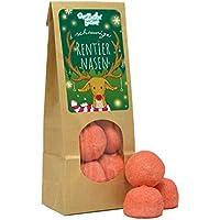 Schaumige Rentiernasen, schöne Wundertüte, rote Schaumzuckerkugeln mit einem leckerem Erdbeergeschmack, süßes Wichtelgeschenk zu Weihnachten