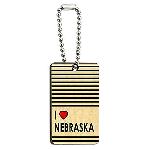 I love Herz Nebraska Holz Rechteck Schlüssel Kette