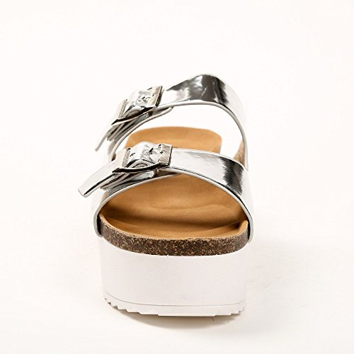 Ideal Shoes–Barfuß mit Sohle aus Radierer Anahi Silber - silber
