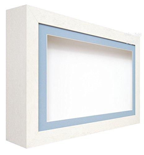 BabyRice Deep Shadow Box Display Gestell Holz-Weiß-für 3D-Objekte, Kunst, Ornaments, Hand Fuß Wirft (Fuß Wirft)