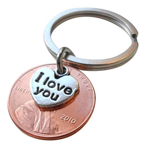 I Love You'(Ich liebe dich) Herz-Charme über 2010 USA ein Cent Penny Schlüsselanhänger überlagert;9 Jahr Jahrestag Geschenk, Paare Schlüsselanhänger (Geschenk-karten Automotive)