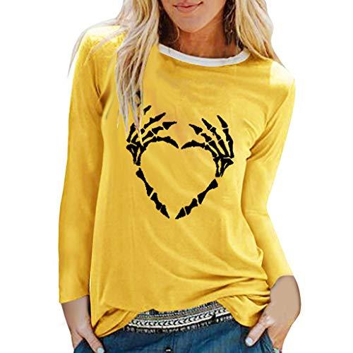 GOKOMO Halloween Dekoration Damen Tops Frauen Bluse handknöchel Schutz Pullover Halloween Langärmliges Hemd(Gelb,XX-Large)