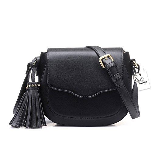 Borse Hobo in pelle elegante Yoome donna con borsa a tracolla borsa a tracolla nappe - Beige Nero