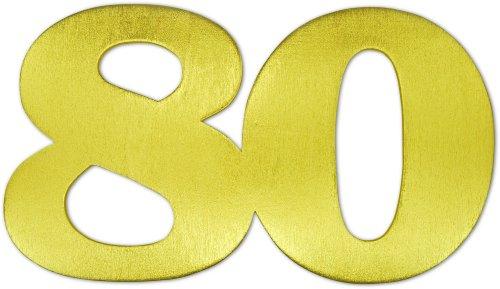 BUDILA® Grosse Holz-Dekozahl 80 gold ca. 145x240mm