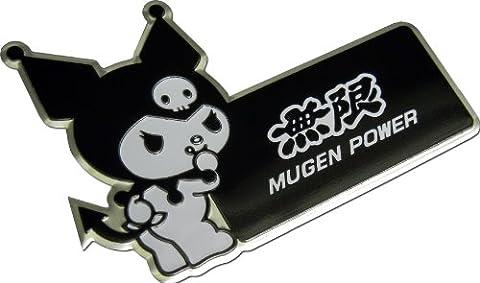Mugen Power Kuromi Hello Kitty Black White Aluminum Emblem Badge Nameplate Logo Decal Rare Japan JDM for Honda Acura Civic Fit Prelude Integra RSX Accord Si TSX CL TL GSR LS EK9 EK EG
