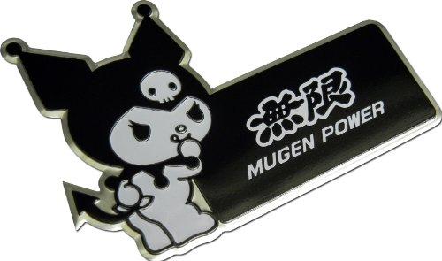 Rsx Honda Emblem (Mugen Power Kuromi Hello Kitty Black White Aluminum Emblem Badge Nameplate Logo Decal Rare Japan JDM for Honda Acura Civic Fit Prelude Integra RSX Accord Si TSX CL TL GSR LS EK9 EK EG)