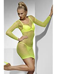 GRÜN NEON XS-M Gitternetzkleid Gitternetz Sexy Netzkleid Kleid Kostüm Karneval Strand 20794