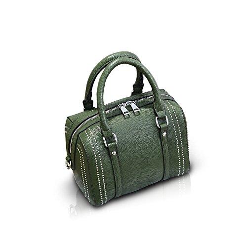 NICOLE&DORIS Crossbody Borsa Cartella alla Spalla Messenger Casual Rivetto Boston Bag di PU Soft Donne Grande Rosso Army Green