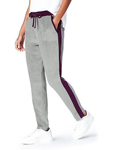 FIND Pantalon de Jogging Velours Femme, Gris (Dark Grey/Burgundy), 38 (Taille Fabricant: Small)