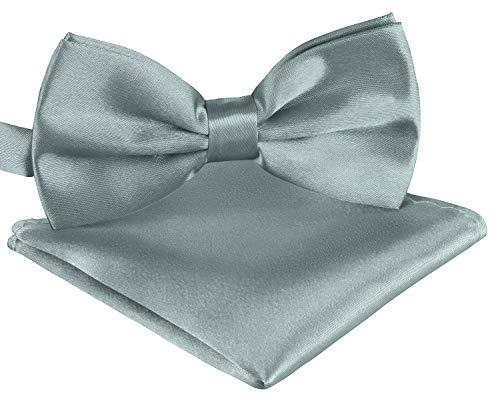BomGuard Fliege Einstecktuch Set für Herren grau I Männer Fliege für Hochzeit, Party oder edele Anlässe I Trendy Bow Tie I Weiß Bow Tie Set