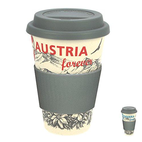 ebos Nostalgie Coffee-to-Go-Becher aus Bambus | Kaffee-Becher, Trink-Becher | ökologisch abbaubar, recyclebar, umweltfreundlich | lebensmittelecht, spülmaschinengeeignet (weiß-rot / Austria)