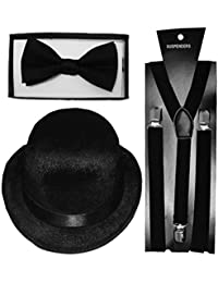 Islander Fashions Adults Cappello a bombetta nera Plain Bretelle Papillon  Set Mens Fancy Party Accessory Taglia 0f414966e670
