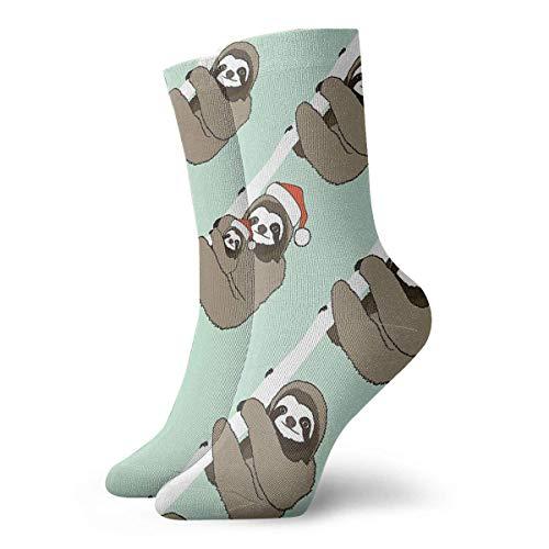 Kotdeqay Casual Socken Cute Sloth with Christmas Hat Fashion Unisex Ankle Socken Athletic Stockings 30cm Long Sock - Casual-christmas-socken