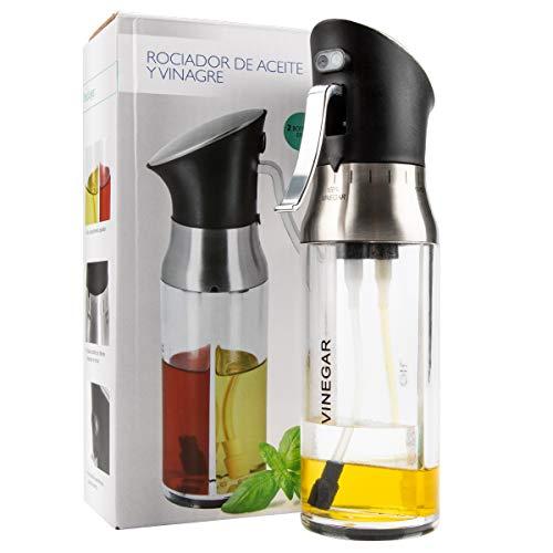 MojiDecor Ölsprüher Dispenser, 2 in1 Öl & Essig Sprayer / Dispenser / Öl Glas Flasche 200ml Edelstahl & Glas Öl Essig Spender zum Kochen, BBQ, Salate, Grillen, Braten, Backen Küchenhelfer