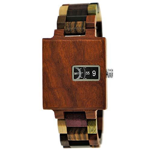 Handgefertigte Holzwerk Germany® Matrix Herren-Uhr Öko Natur Holz-Uhr Holz Armband-Uhr Grün Braun Schwarz Bunt Analog Quarz-Uhr Future Edition