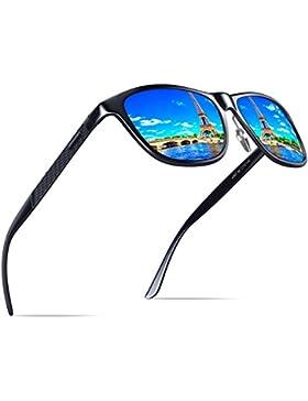 KITHDIA Hombre Wayfarer Gafas de sol Polarizado Al-Mg Metal Super Ligero Marco
