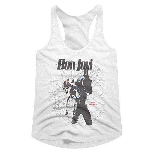 Computer Fitted T-shirt (Bon Jovi Rock Band JonBon Rockin Out Guitar New Jersey Map Damen Tank Top Tee - Weiß - X-Large)