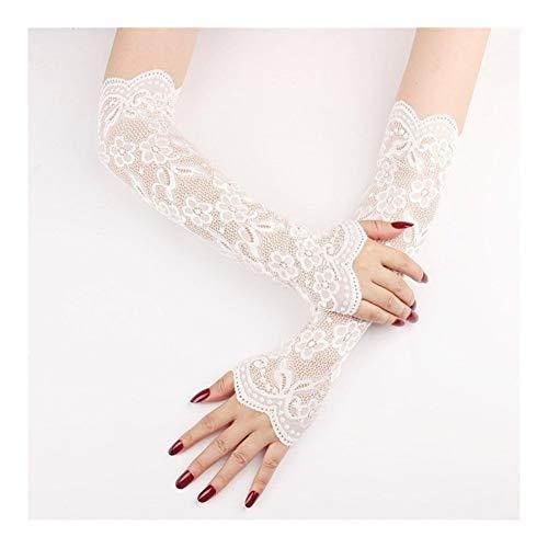 LUOSI Sommer Langärmelig Handschuhe Sonnenschutz for Frauen Mesh-Spitze Bike Breath einen.Kreislauf.durchmachenhandschuh Fahren Armlinge Sleeves (Color : White)