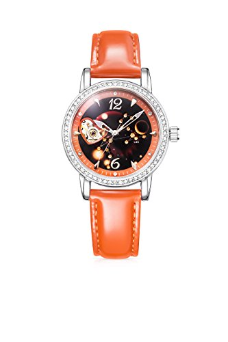 Time100 - Montre mécanique automatique Squelette Bracelet Cuir Lion de la Série de Constellation cadeau pour femmes et filles - W80089L.05AN