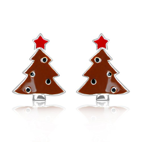 Holiday Christmas Tree (sistakno Sterling Silber 925Holiday Christmas Tree Dekoration Santa Claus Coming To Town Ohrstecker)