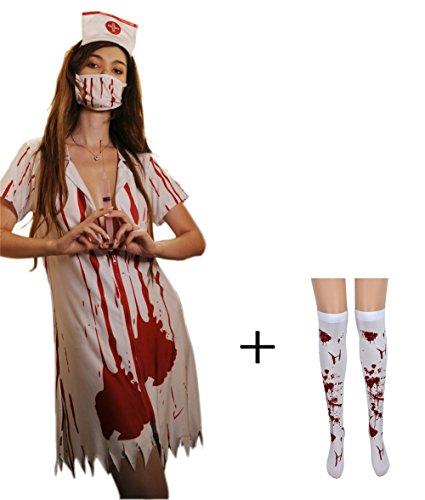 Befox Zombie Krankenschwester Halloween Kostüm Frauen / Fancy Dress / Nurse (Krankenschwestern Zu Halloween Outfit)
