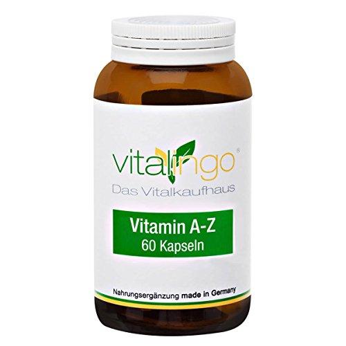 Vitamin & Mineralstoff Komplex von vitalingo - 60 Kapseln à 965mg mit A-Z Vitaminen und Mineralstoffe hochdosiert - im hochwertigen Glasflacon - Vitamine und Mineralstoffe
