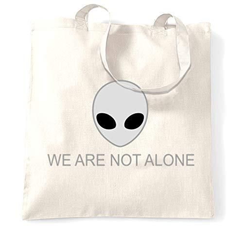 Nerdy Alien Head Tragetasche Wir sind nicht allein Slogan White One Size