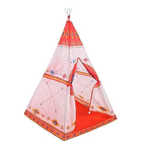 Kinderspielzelt Ethnischen Stil Indischen Zelt PVC Pole Design Kinder Space Folding Spiel Zelte Raumdekoration Tipi Mit Tragetasche Spielen Tunnelzelt (Farbe : Orange red, Größe : As Shown)