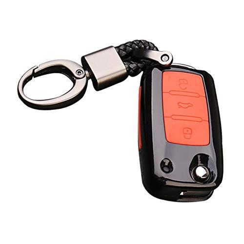 Fibra di carbonio Happyit ABS + silicone auto chiave caso portachiavi per Volkswagen VW Bora Beetle Tiguan polo Passat B5B66Jetta MK5Sagitar sella EOS Golf 63pulsanti telecomando