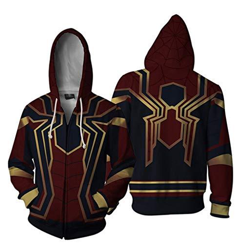 YKJL Marvel Iron Spider Hoodie 3D-gedrucktes Cosplay-Kostüm Lässige Langarm-Sweatshirt mit Reißverschluss Spider-Man Movie Fans Kleidung für Halloween,Rot,XL