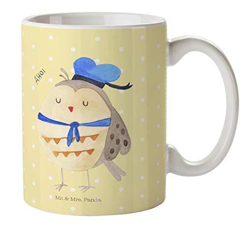 Mr. & Mrs. Panda Kaffeetasse, Trinkbecher, Kindertasse Eule Matrosen - Farbe Gelb Pastell