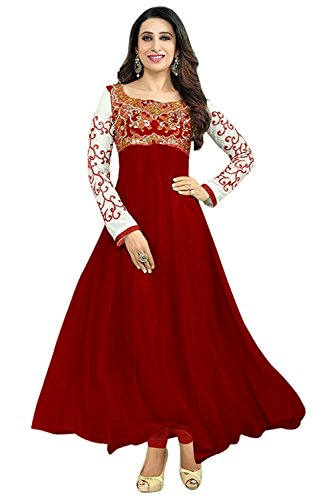 Anarkali Red Suit for Women\'s Embroidered Georgette